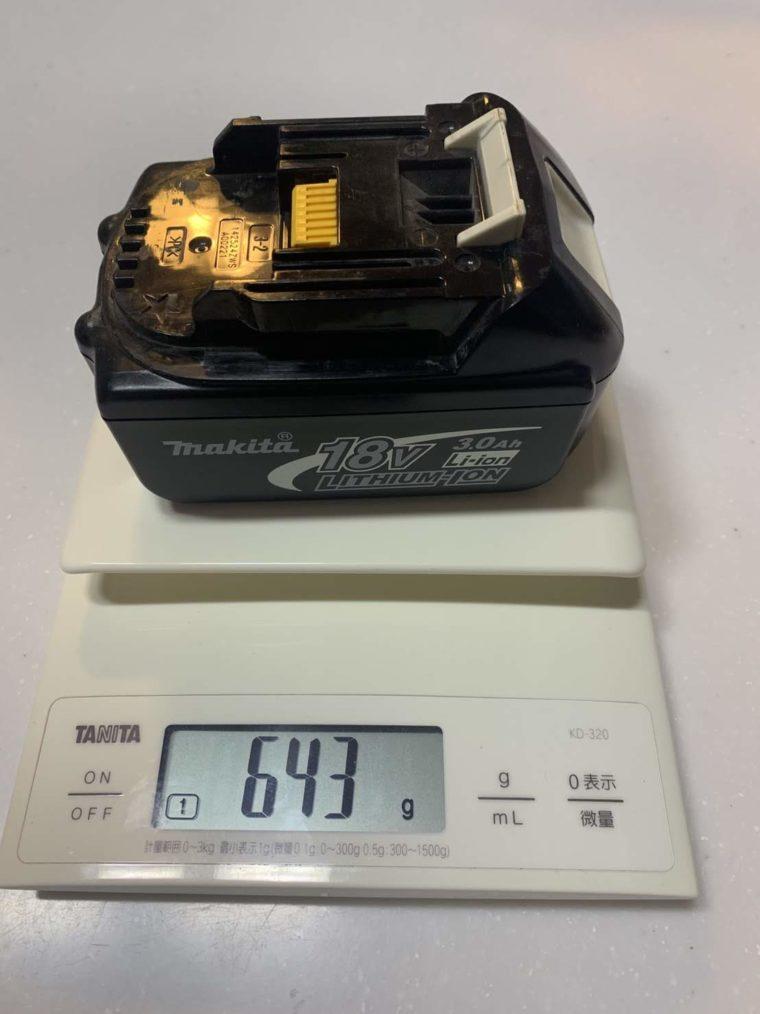 マキタ18Vバッテリー重さ口コミ